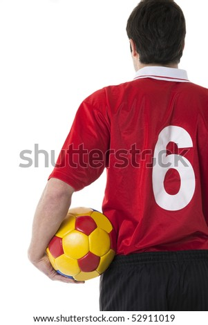 Soccer/Football player, rear view - stock photo