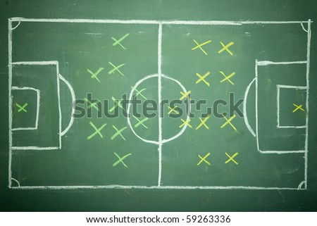 Soccer - Football  Strategy planning on black (green) board - stock photo