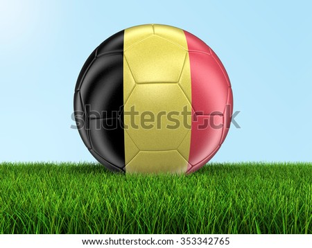 Soccer football with Belgian flag on. Image with clipping path - stock photo
