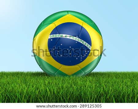 Soccer football with Brazilian flag on grass. Image with clipping path - stock photo