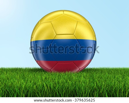 Soccer football with Colombian flag. Image with clipping path - stock photo