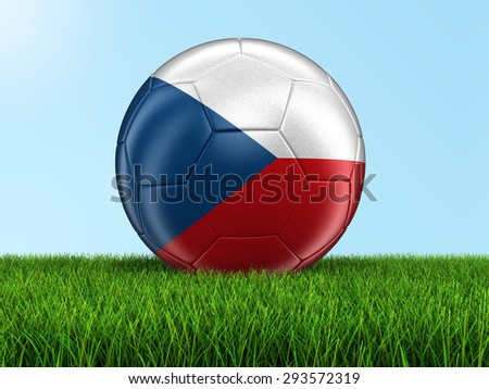 Soccer football with Czech flag on grass. Image with clipping path - stock photo