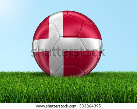 Soccer football with Danish flag on grass. Image with clipping path - stock photo