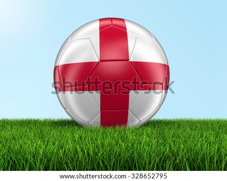 Soccer football with English flag on grass. Image with clipping path - stock photo