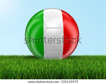 Soccer football with Italian flag on grass. Image with clipping path - stock photo