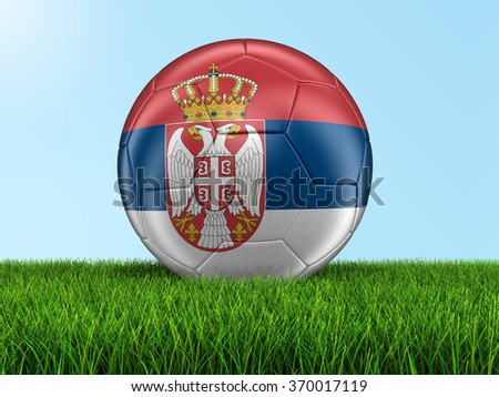 Soccer football with Serbian flag. Image with clipping path - stock photo