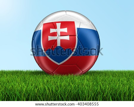 Soccer football with Slovak flag. Image with clipping path - stock photo