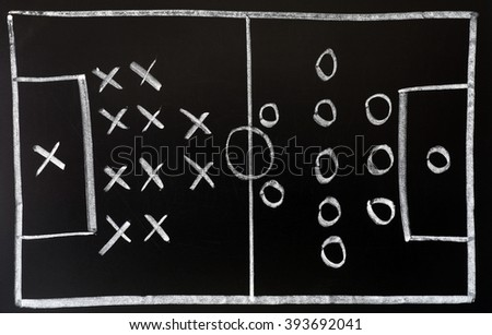 Soccer formation tactics drawn in chalk on a blackboard - stock photo