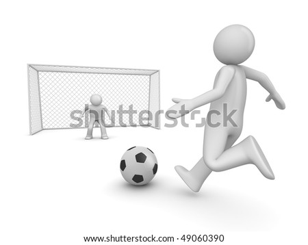 Soccer forward in penalty area (3d isolated on white background sports characters series) - stock photo