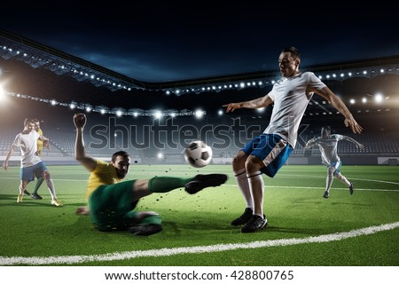 Soccer game in action - stock photo