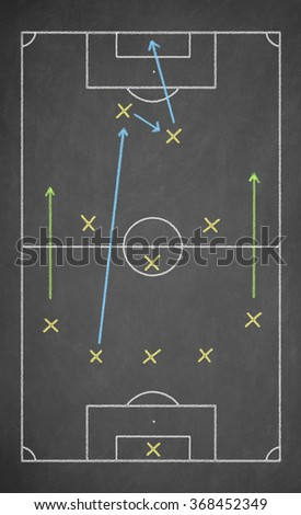 Soccer game strategy drawn with chalk on a blackboard. Scheme 5-3-2 - stock photo