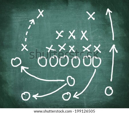 Soccer game strategy on a chalkboard - stock photo