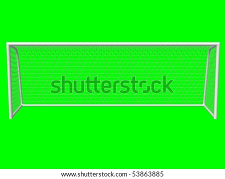 soccer goal front view isolated on green background - stock photo