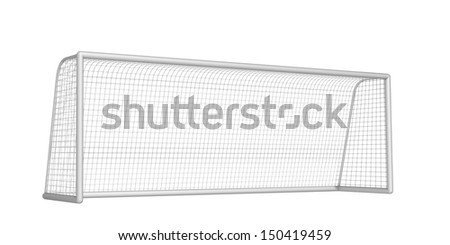 soccer goal on a white background - stock photo