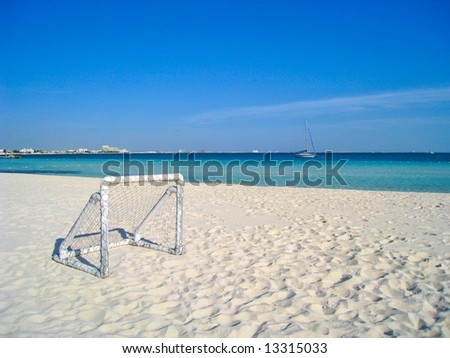 Soccer Goal on Caribbean Beach - stock photo