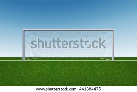 Soccer goal post and net on green grass of soccer field and blue sky background with clipping path.