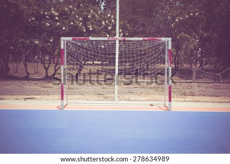 Soccer goal with filter effect retro vintage style - stock photo
