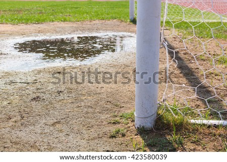 Soccer goal with grass field background.