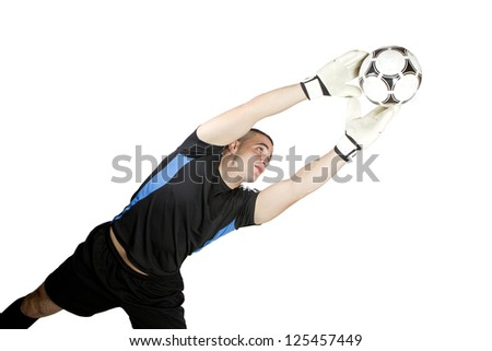 soccer goalkeeper ball in his hands - stock photo