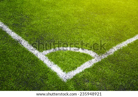 Soccer grass field with marking  - stock photo