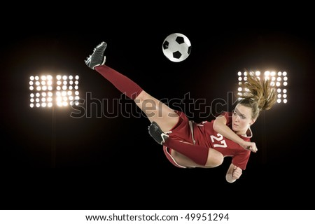 soccer kick with lights in stadium - stock photo