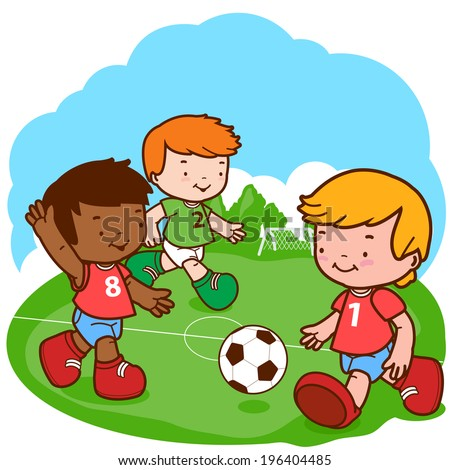 Soccer kids. Three little boys play football. Vector version also available in my gallery.