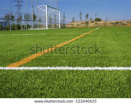 Soccer marking lines with net goal - stock photo