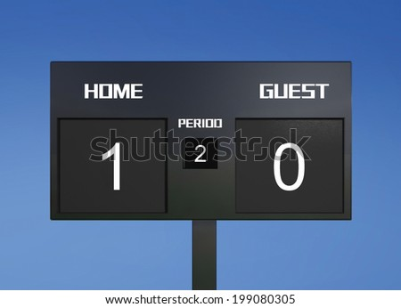 soccer match scoreboard display the goal result  - stock photo