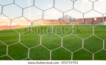 soccer net  at soccer stadium - stock photo
