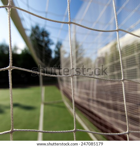 Soccer net on goal, closeup  - stock photo