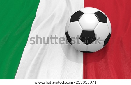 soccer on ball  on the italy flag - stock photo