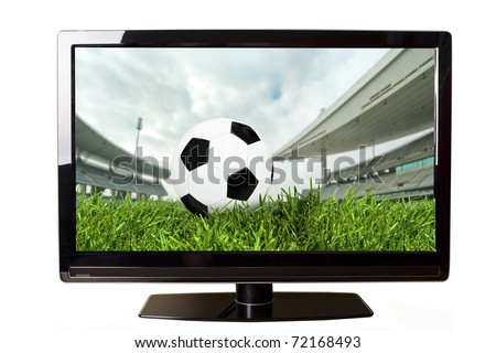 Soccer on TV concept isolated on white - stock photo