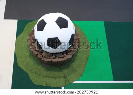 Soccer or Foot ball on the court - stock photo