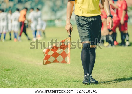 soccer or football assistant referee ,vintage - stock photo
