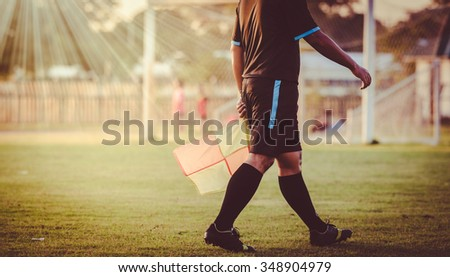 soccer or football assistant referee , vintage - stock photo