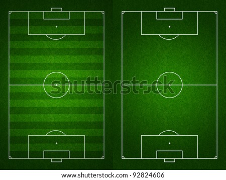 Soccer or football field or pitch top view with proper markings and proportions according standards - stock photo