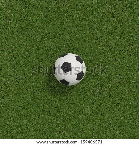 soccer or football on soccer field on top view ,3d