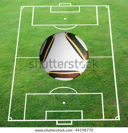 Soccer pitch with world cup football - stock photo