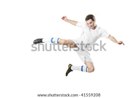 Soccer player in a jump isolated on white background - stock photo