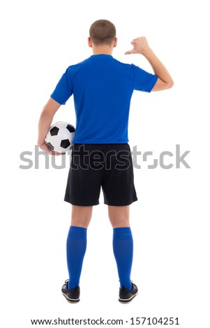 soccer player in blue uniform showing on her back isolated on white background - stock photo