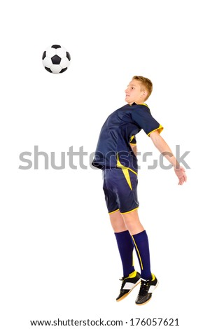 soccer player isolated on a white background - stock photo