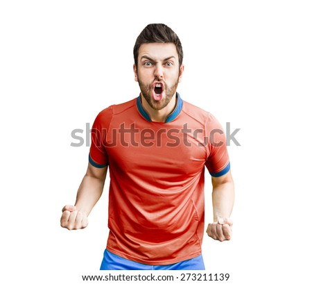 Soccer player on red and blue uniform on white background - stock photo