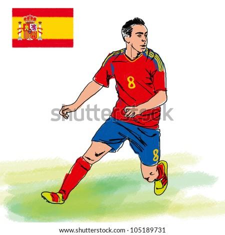 Soccer player representative Spain. - stock photo
