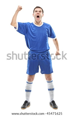 Soccer player standing and screaming isolated against white background - stock photo