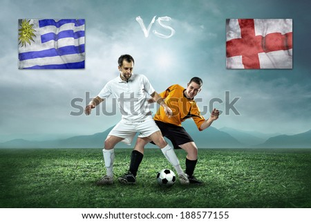 Soccer player stay at field. Game between Uruguay and England national teams.