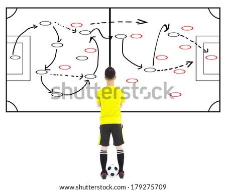 soccer player thinking a attacks tactics - stock photo