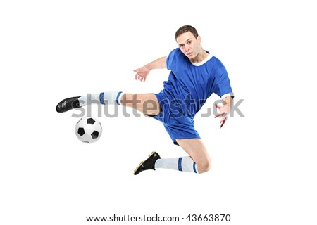 Soccer player with a ball in action isolated on white background