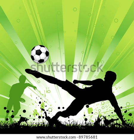Soccer Player with ball on grunge background, element for design, raster version - stock photo