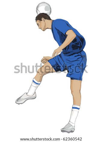 Soccer player with blue dress. - stock photo
