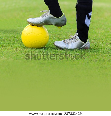 Soccer player with Soccer ball - stock photo